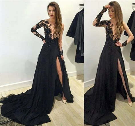 long sleeve lace prom dresses long sleeve prom dress black lace long prom dress evening