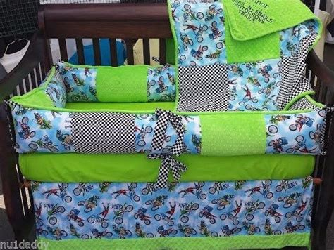 Motocross Crib Bedding Deluxe Lime Green Minky Checkered Motocross Dirt Bike Crib Set Ebay