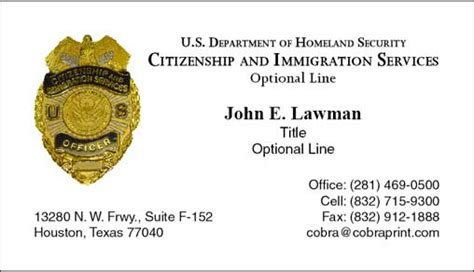 Immigration Services Officer by Cobra Printing Productions Uscis Business Cards