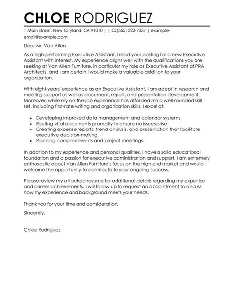 cover letter for an executive assistant best executive assistant cover letter exles livecareer