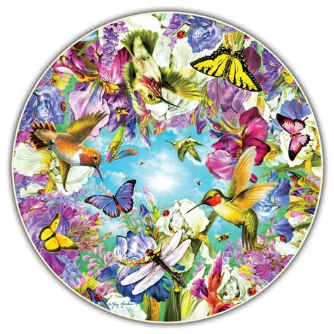 Hummingbirds Round Table Puzzle Jigsaw Puzzle Puzzlewarehouse Com Circular Jigsaw Puzzles