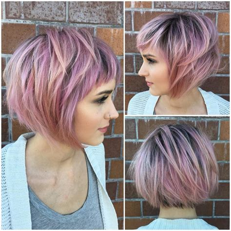 blunt choppy tousled hair beyonce women s messy choppy pink highlighted bob with baby bangs