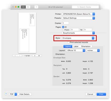 printing address labels on envelopes busycontacts mac printing envelopes and mailing labels