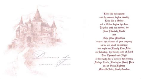 Princess Theme Wedding Invitations by Princess Theme Castle Theme Wedding A Wedding Planner