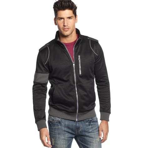 marc ecko arm band zip track jacket in black for