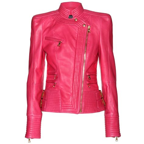 pink leather jacket caffection