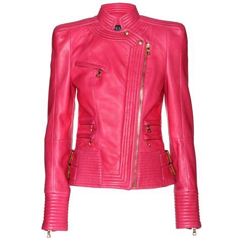 fuchsia jacket balmain leather jacket in pink lyst