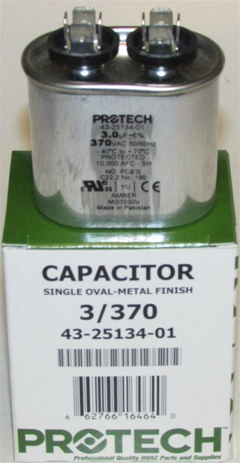 capacitor for ruud heat 3 mfd 370 volt protech rheem ruud oval run capacitor