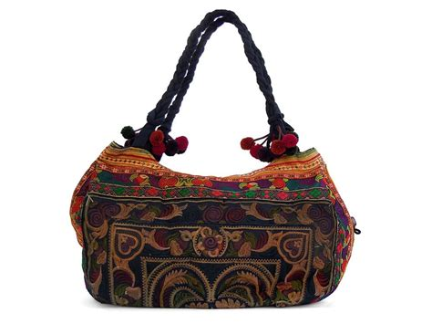 large embroidered handmade hmong tote bag purse thailand