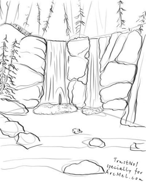 waterfall coloring pages landscape with waterfall coloring pages
