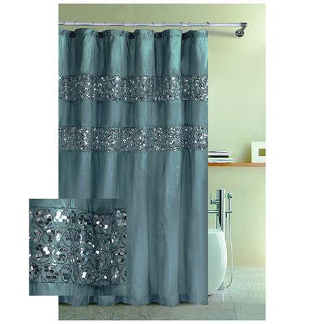 brown hookless shower curtain blue rug on white tile floor hookless fabric shower
