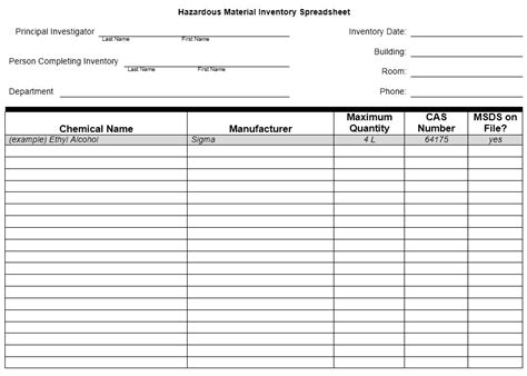 28 Images Of Template List Of Hazardous Chemicals Helmettown Com Osha Chemical Inventory Template