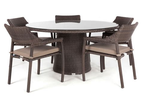 Delia round glass top outdoor patio dining table for 5 to