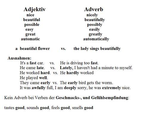Adjektiv Adverb Ausnahmen Englisch 220 Bungen