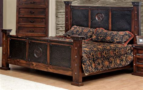 western rustic bedroom furniture copper creek king bed rustic western free s h dark
