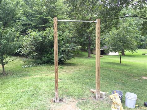 building a backyard gym making a diy pull up bar at home in 5 easy steps garage