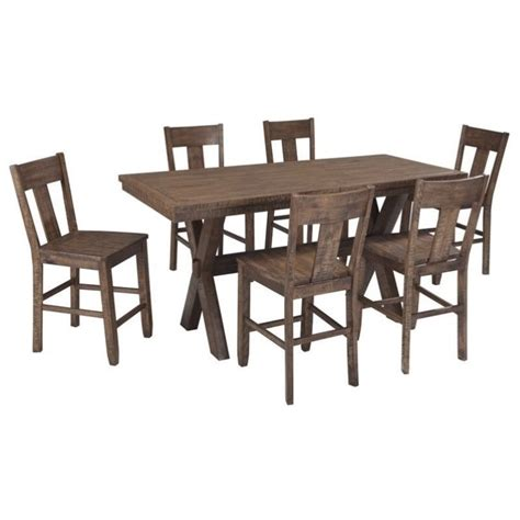 ashley 7 piece dining room set superco tv appliance ashley walnord 7 piece counter height dining set in rustic
