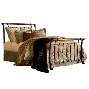 King Size Metal Headboard And Footboard Legion Iron Sleigh Bed Ancient Gold Finish Traditional Design