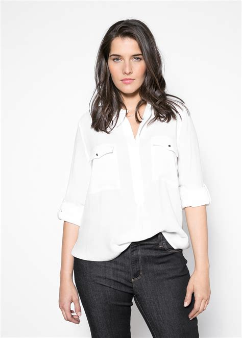Blouse Crepe 1 violeta by mango chest pocket crepe blouse in white lyst