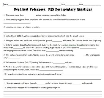 biography documentary questions deadliest volcanoes pbs documentary questions key by