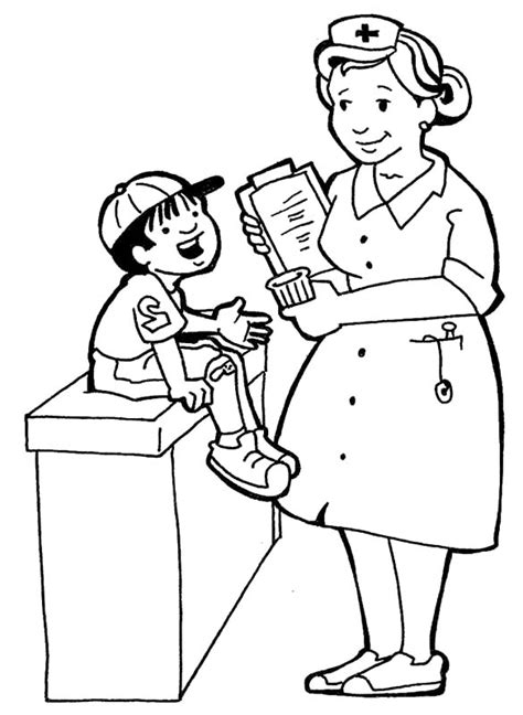 nurses and little kids coloring pages printables 2