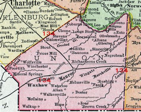 Union County Nc Records Union County Carolina 1911 Map Rand Mcnally Waxhaw Wingate