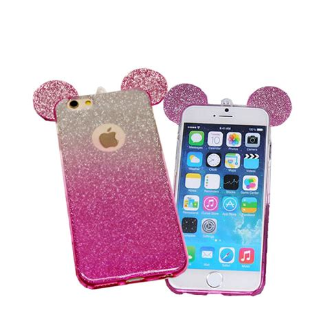 Casing Mickey Mouse Iphone 6 6s 7 7s 7 7s 2016 new 3d mickey minnie mouse ears tpu glitter gradient for iphone 6 6s plus 5 5s 7 7plus