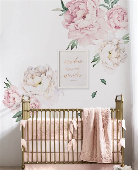 flower wall decals for nursery peony flowers wall sticker watercolor peony wall stickers