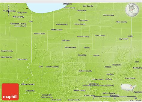 physical map of indiana physical panoramic map of indiana