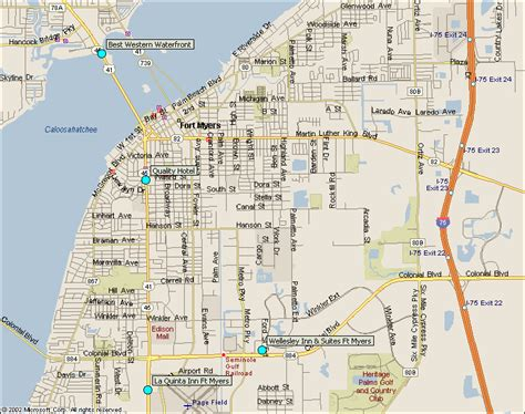 fort myers florida map fort myers downtown florida hotels map from southwest florida traveler
