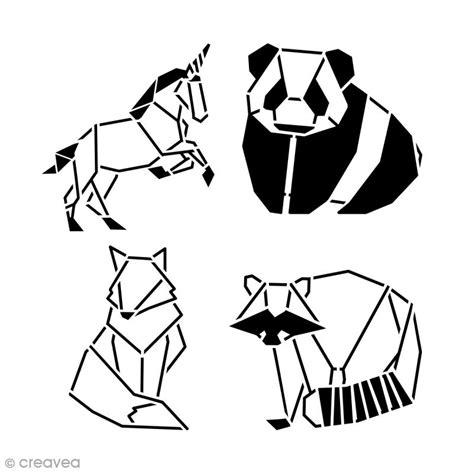 Pochoir Multiusages 15 X 15 Cm Animaux Origami 4 Pcs