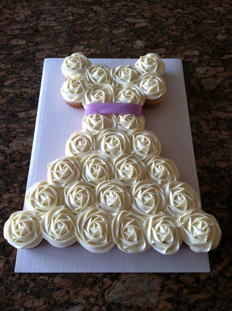 vanilla cupcake cake wedding dress sash wedding colors
