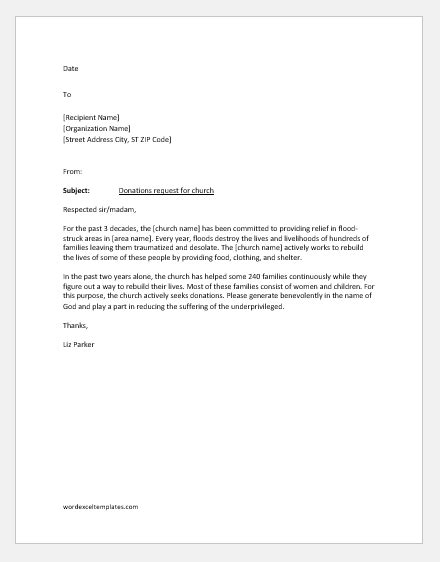 church donation request letter individual business