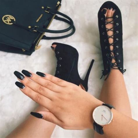 Zhoey Black High shoes black laces high heels stylish jewels