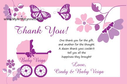 butterfly thank you card template butterfly buggy pink thank you card for baby shower you