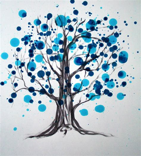 Trijee Blue blue tree painting by alma yamazaki