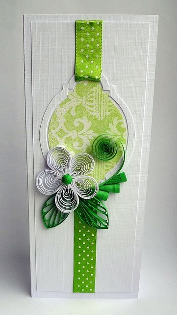 handmade quilling card and narrow format white and chartreuse sweet quilled