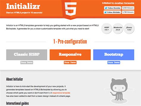 html5 jquery templates initializr best web design tools