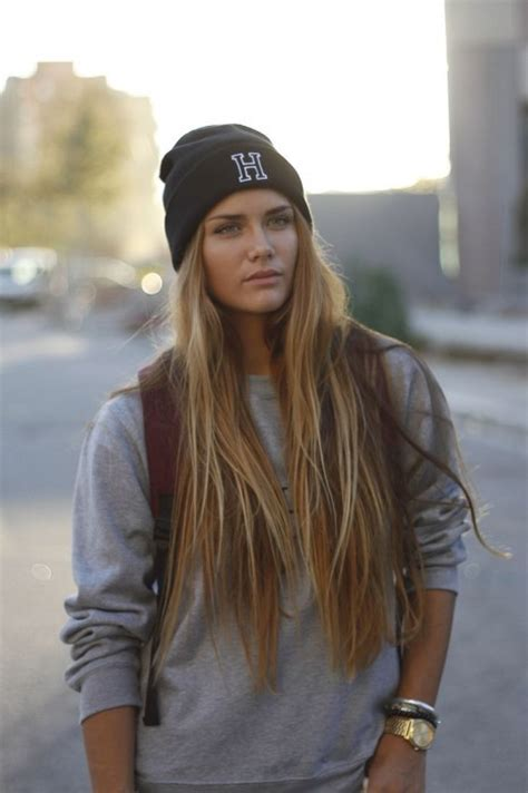 straight hair with outfits cute ways to wear a beanie in winter fashion style