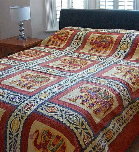 indian coverlet elephant applique indian bedspread asian bedding
