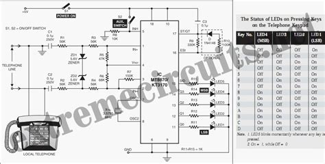 resistors in telephone circuits dtmf receiver ic mt8870 tester schematic diagram wiring