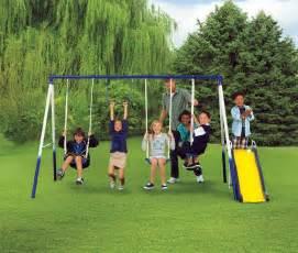 Children S Swing Set Sportspower Grove Park 4 Leg Metal Swing Set