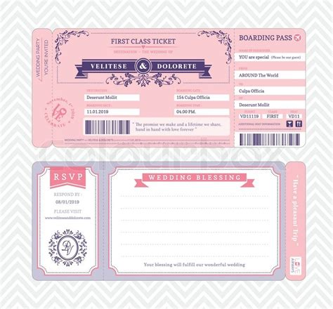 Boarding Pass Ticket Wedding Invitation Template Stock Vector Colourbox Plane Ticket Wedding Invitation Template Free