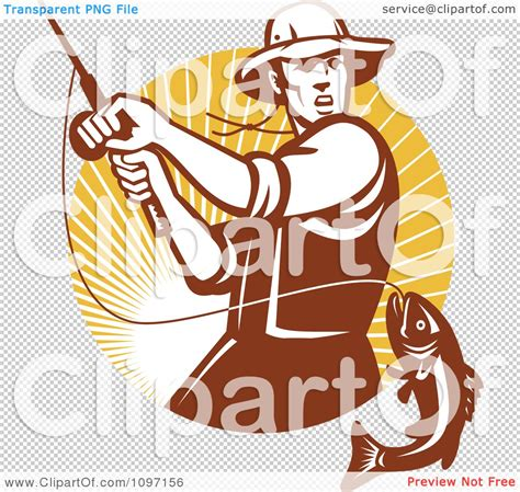 clipart retro fly fisherman reeling in a largemouth bass