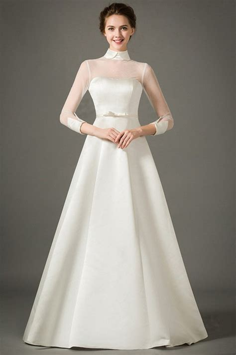 fashion union fashion union shoulder shirt simple accessories a line high neck collar sheer tulle sleeve satin wedding