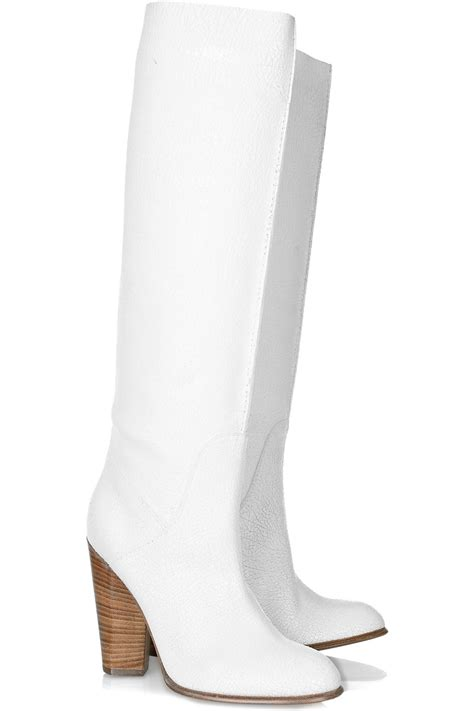 white knee high boots marc by marc cracked leather knee high boots in