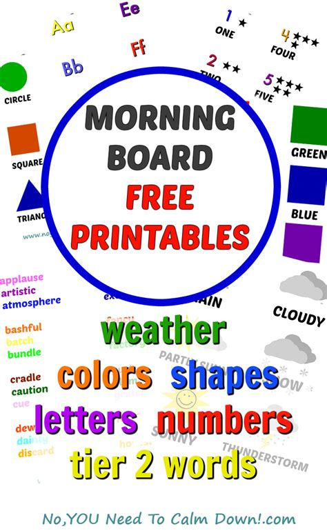 colors free printables no you need to calm down morning board free printables no you need to calm down