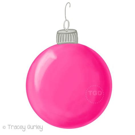 pink christmas ornament clip art hand painted clip art