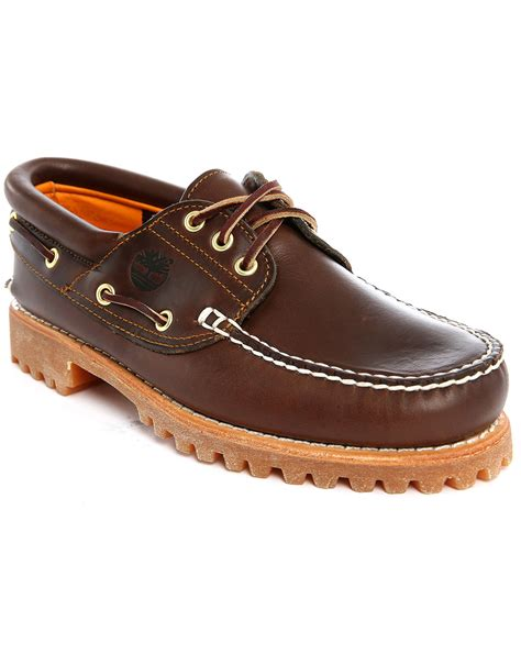 timberland boat shoes timberland authentic brown leather boat shoes in brown for