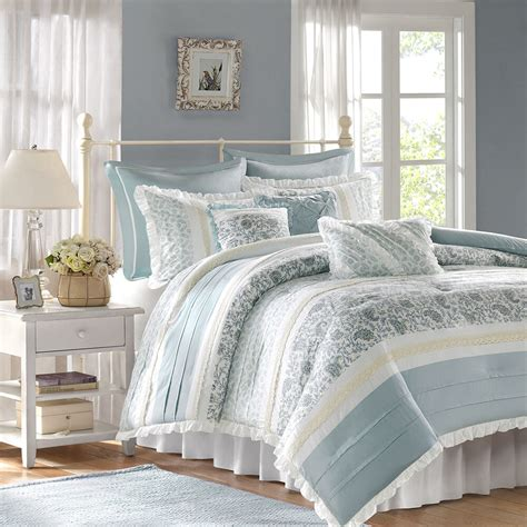 Beautiful White Comforter Sets by Beautiful 8pc Vintage Chic White Blue Grey Floral